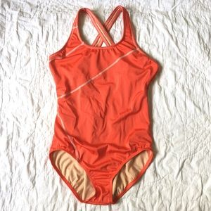 Lands End Swimsuit One Piece Red Criss Cross Back